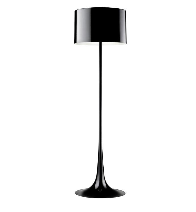 Black Spun Light F Floor Lamp by Sebastian Wrong for Flos, Italy In Good Condition For Sale In Brooklyn, NY