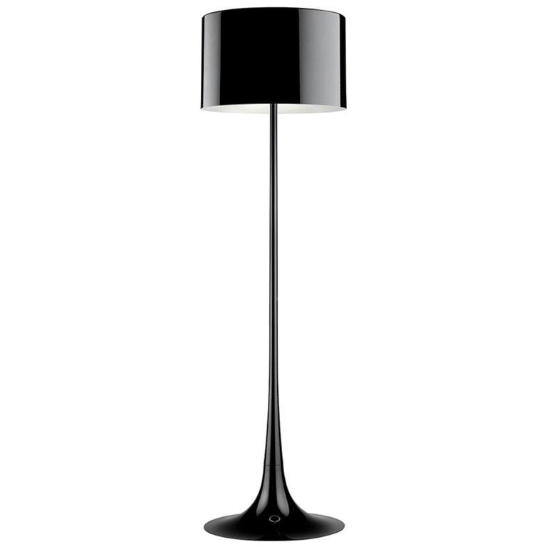 Black Spun Light F Floor Lamp by Sebastian Wrong for Flos, Italy For Sale