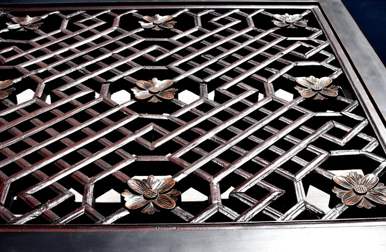 Black Square Asian Coffee Table with Antique Lattice Screen For Sale 3