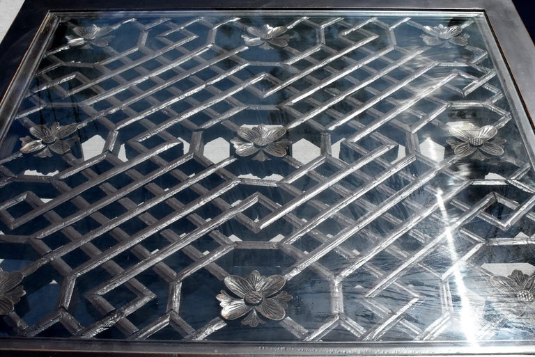 Chinese Black Square Asian Coffee Table with Antique Lattice Screen For Sale