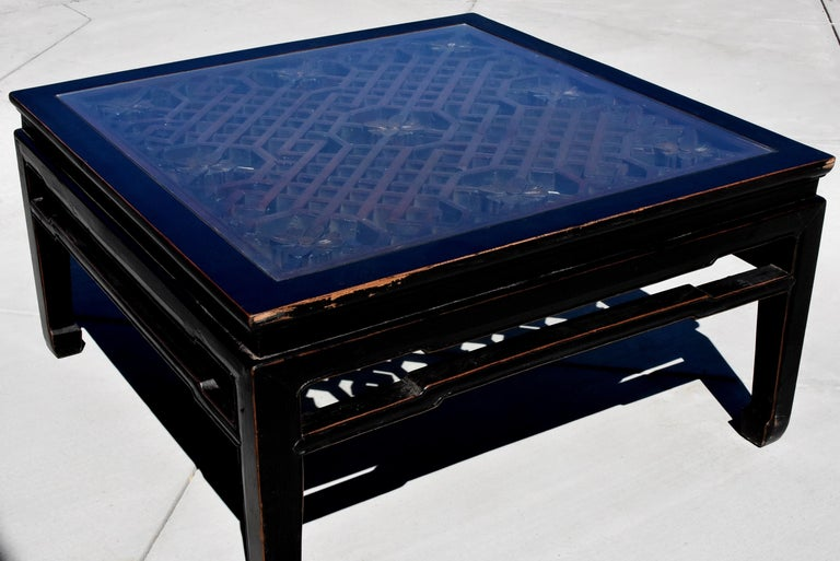 Black Square Asian Coffee Table with Antique Lattice Screen In Good Condition For Sale In Somis, CA