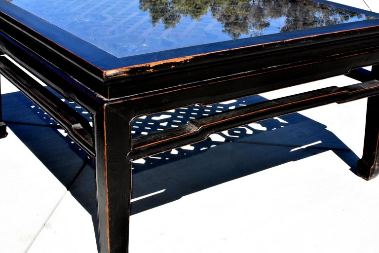 20th Century Black Square Asian Coffee Table with Antique Lattice Screen For Sale