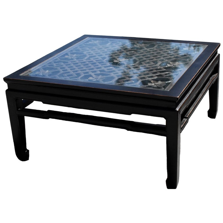 Black Square Asian Coffee Table with Antique Lattice Screen For Sale