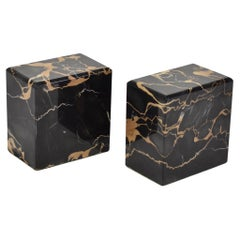 Black Square Marble Bookend Set
