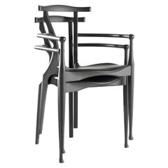 Black Stackable Ash Wooden Chair with Armrests by Oscar Tusquets