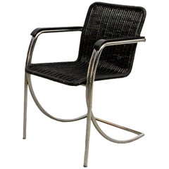 Black Stained Pit Cane Wicker Chair, 1970s