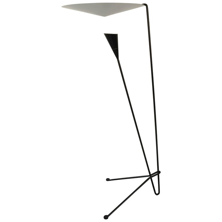 Black Standing Floor Lamp by Michel Buffet For Sale
