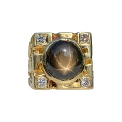 Black Star Sapphire Mens Nugget Ring in 14k Yellow Gold