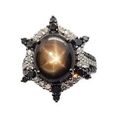 Black Star Sapphire with Diamond and Black Diamond Ring in 18 Karat White Gold
