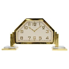 Black Starr and Frost Art Deco Footed Desk Clock Gilt and Nickel Finish, 1930s