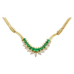 Black, Starr and Frost Emerald and Diamond Necklace, 18 Karat Yellow Gold