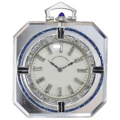 Black Starr and Frost Platinum Natural Quartz Art Deco Dress Pocket Watch