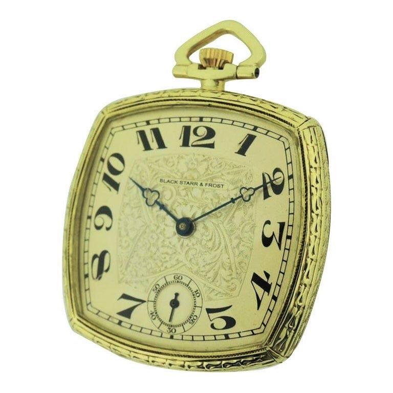FACTORY / HOUSE: Black Starr & Frost by Paul Valletti STYLE / REFERENCE: Cushion Shaped Open Face / Pocket Watch METAL / MATERIAL: 14kt Solid Yellow Gold CIRCA: 1920's DIMENSIONS: 41mm MOVEMENT / CALIBER: Manual Winding 17 Jewels  DIAL / HANDS: