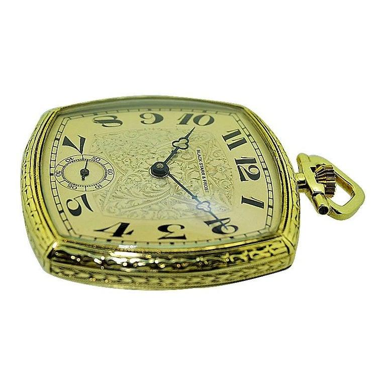 Black Starr & Frost 14 Karat Gold Art Deco Pocket Watch with Engraved Dial In Excellent Condition For Sale In Venice, CA