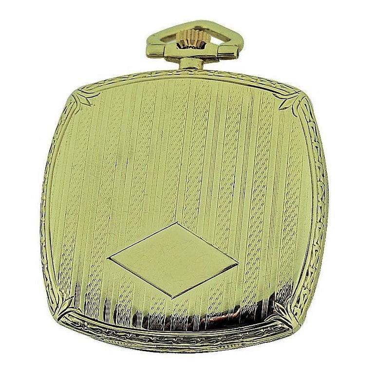 Black Starr & Frost 14 Karat Gold Art Deco Pocket Watch with Engraved Dial For Sale 1
