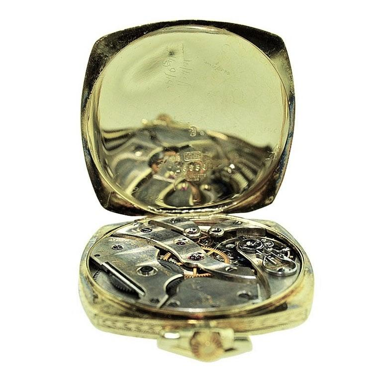 Black Starr & Frost 14 Karat Gold Art Deco Pocket Watch with Engraved Dial For Sale 3