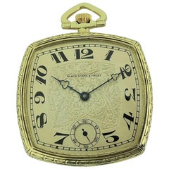Black Starr & Frost 14 Karat Gold Art Deco Pocket Watch with Engraved Dial