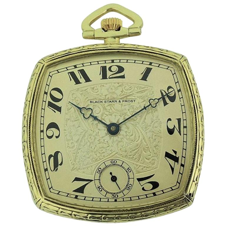 Black Starr & Frost 14 Karat Gold Art Deco Pocket Watch with Engraved Dial For Sale