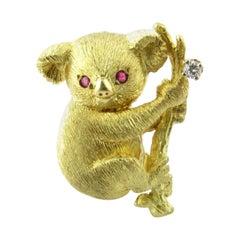 Black Starr & Frost 18 Karat Yellow Gold Diamond Ruby Koala Bear Brooch