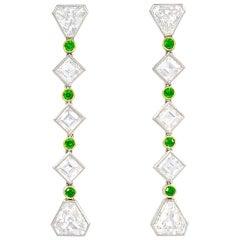 Black, Starr & Frost Art Deco Demantoid Garnet, Diamond, and Platinum Earrings