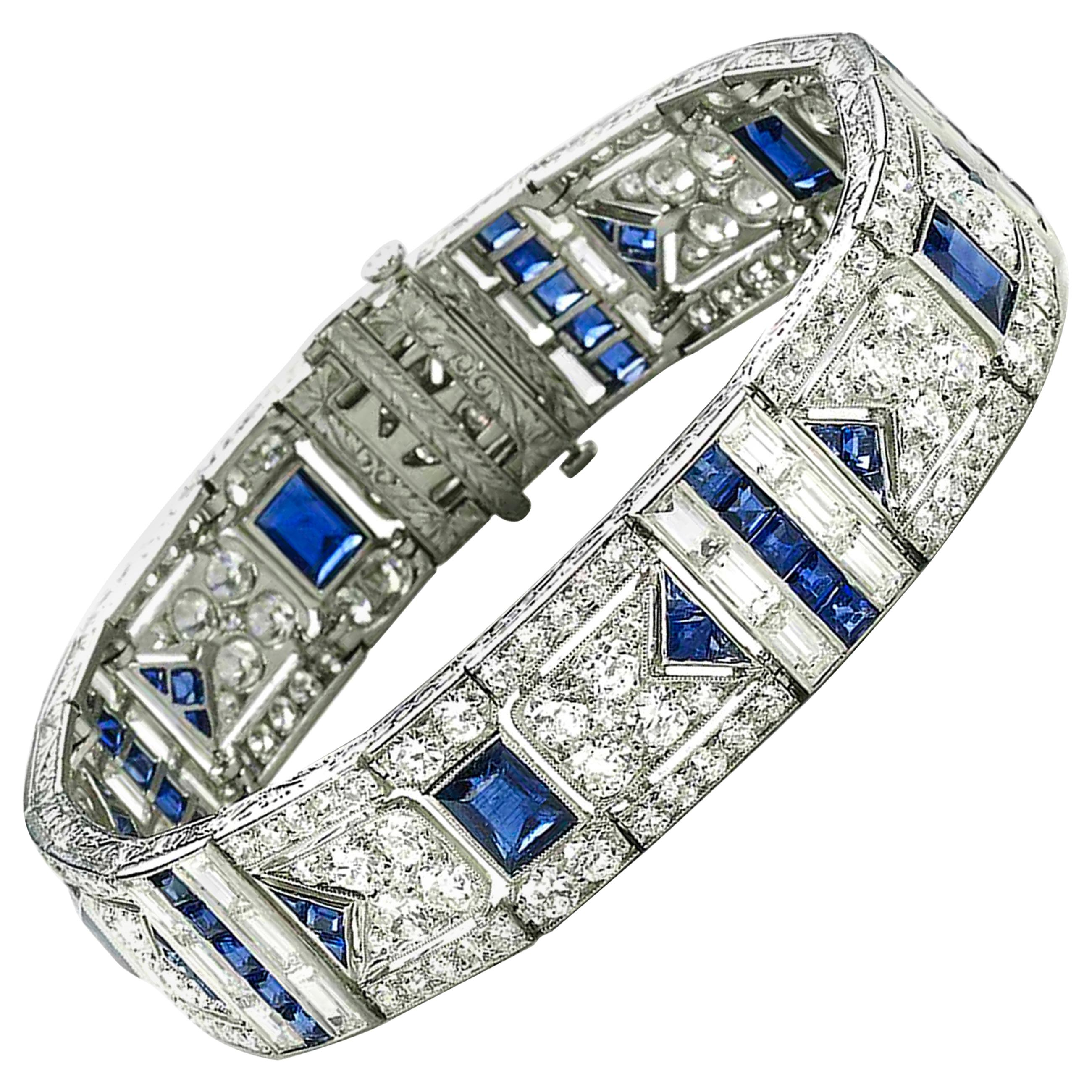Black Starr & Frost Art Deco Sapphire and Diamond Bracelet