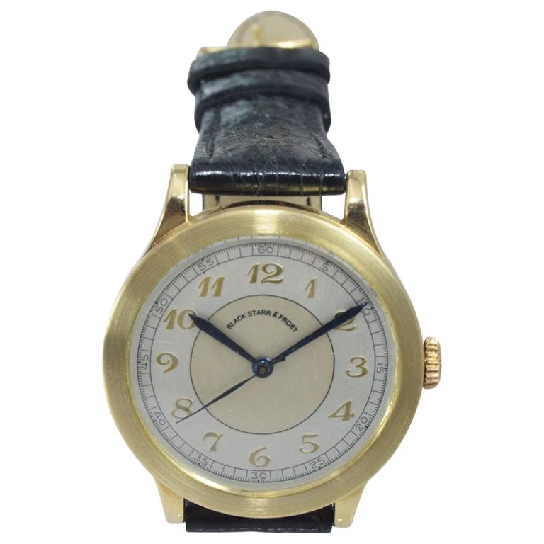 Black Starr & Frost by Movado 14 Karat Gold Art Deco Watch, Original Dial, 1940s For Sale