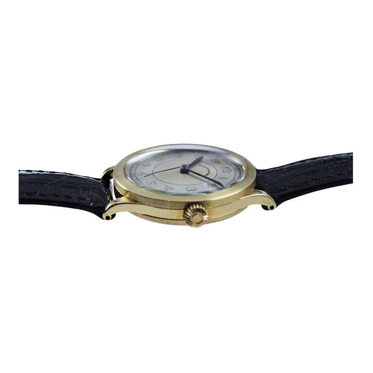 Black Starr & Frost by Movado 14 Karat Gold Art Deco Watch, Original Dial, 1940s For Sale 2