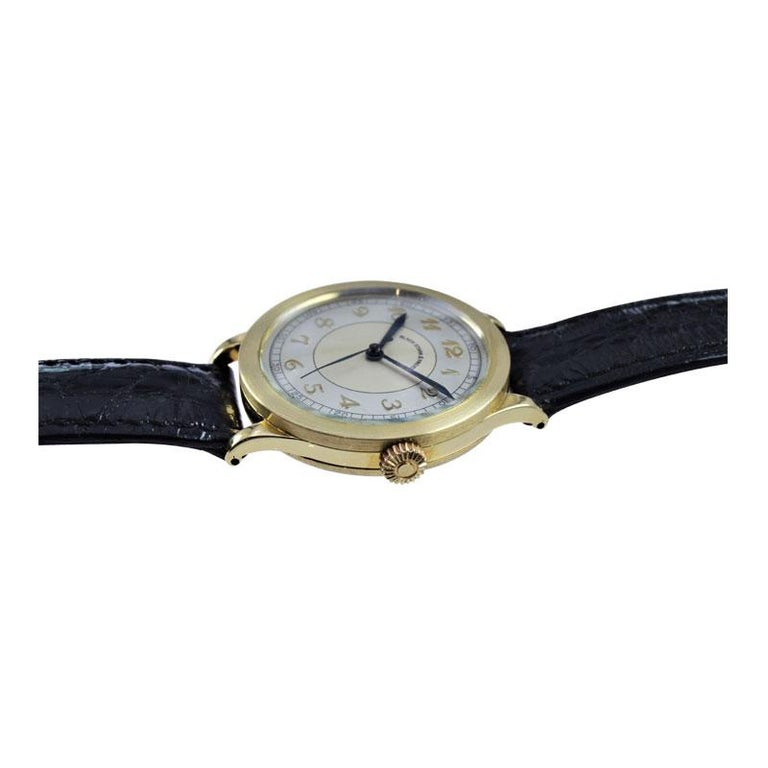 Black Starr & Frost by Movado 14 Karat Gold Art Deco Watch, Original Dial, 1940s For Sale 3
