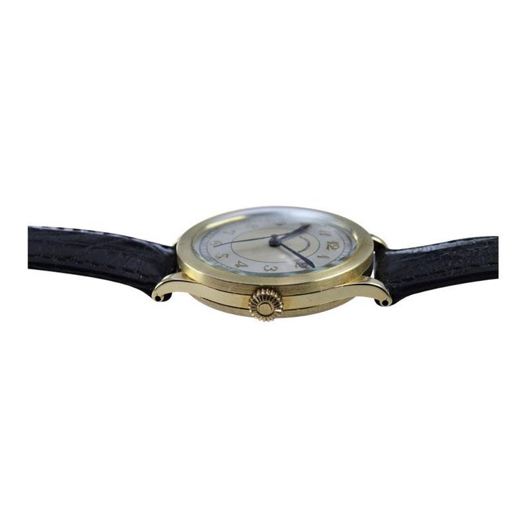 Black Starr & Frost by Movado 14 Karat Gold Art Deco Watch, Original Dial, 1940s For Sale 4
