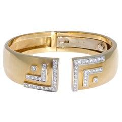 Black Starr Frost Diamond 18 Karat Gold Hinged Cuff Bangle
