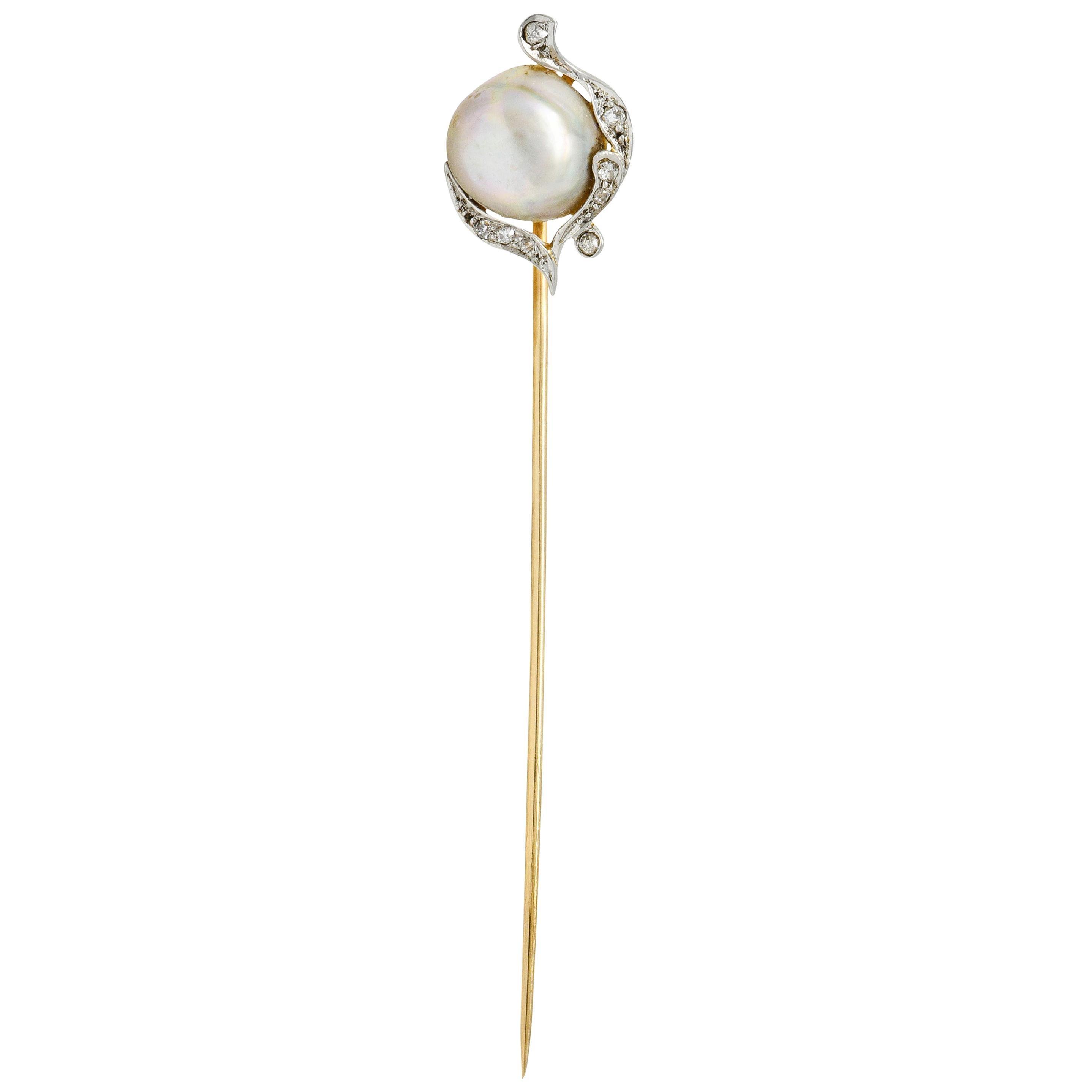 Black Starr & Frost Diamond Baroque Pearl Platinum-Topped 18 Karat Gold Stickpin