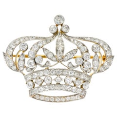 Black Starr & Frost Edwardian 2.88 Carat Diamond Platinum 18K Gold Crown Brooch