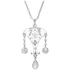 Black Starr & Frost Edwardian Pear Shaped Diamond Platinum Pendant Necklace
