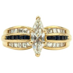 Black Starr and Frost Marquise Cut Diamond Ring