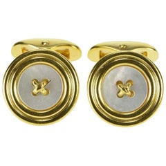 Black Starr & Frost Mother of Pearl Button Gold Cufflinks