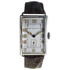 Black Starr & Frost Silver Art Deco Oversized Watch, circa 1920s Handmade