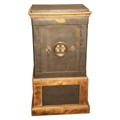Black Steel and Wood French Antique Safe, Black Drink Cabinet, Cocktail Cabinet