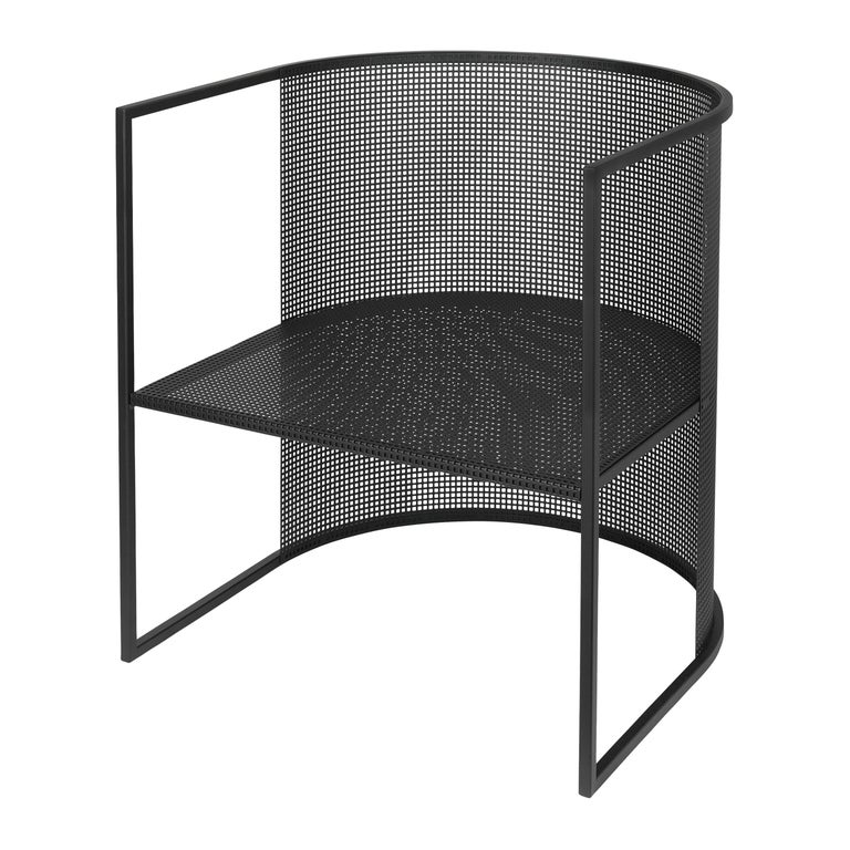 Black steel Bahaus lounge chair by Kristina Dam Studio Materials: Black outdoor powder-coated steel Dimensions: 67 x 63 x 64 cm  *Safe to use outdoor.  Kristina Dam graduated from The Royal Danish School of Fine Arts, Architecture and Design in