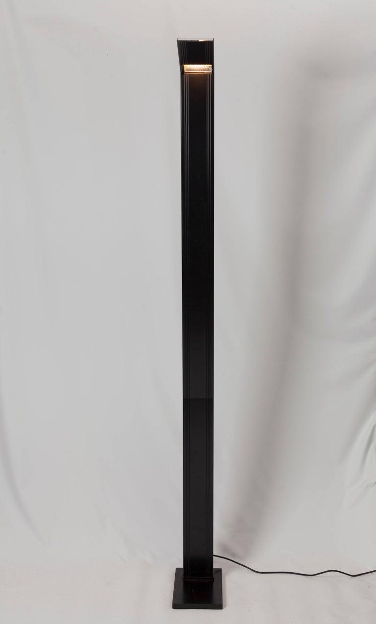 Belgian Black Steel Floor Lamp Marked