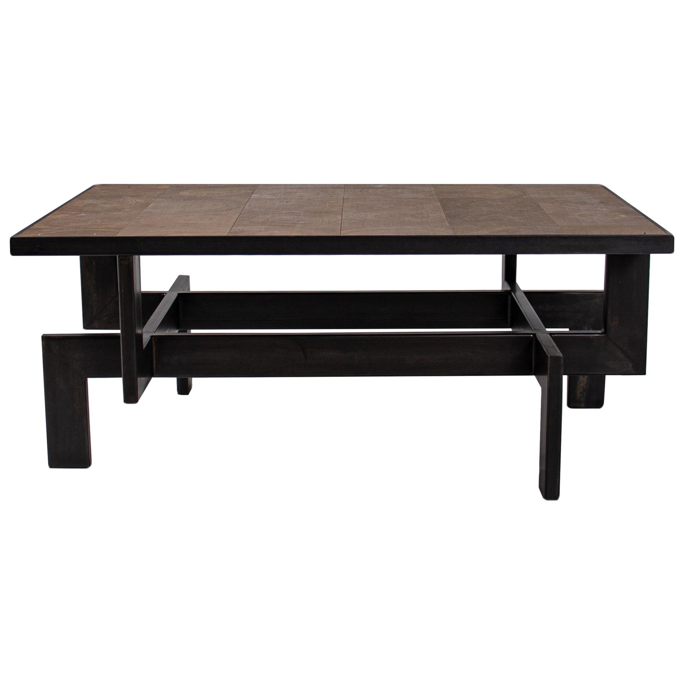 Black Steel Geometric Shape Coffee Table Base with Natural Oak Top