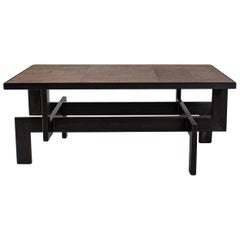 Black Steel Geometric Shape Coffee Table Base with Natural Oak Top