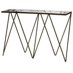 Black Steel Giraffe Console Table with Granite Table Top
