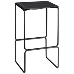 Black Steel Powder Coated Leather Counter Seat