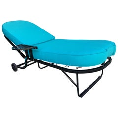 Black Steel Spring Outdoor / Patio Chaise Lounge by Woodard