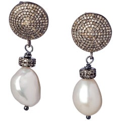 Black Sterling Silver and Diamond Baroque Pearl Drop Earrings