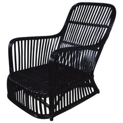 Black Stick Wicker Armchair