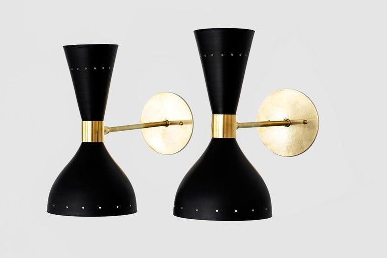 Italian Black Stilnovo Style Sconces For Sale