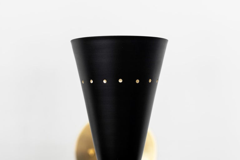Metal Black Stilnovo Style Sconces For Sale