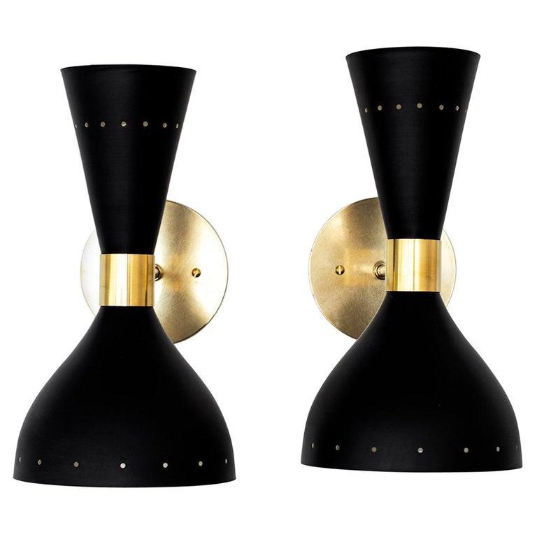 Black Stilnovo Style Sconces For Sale