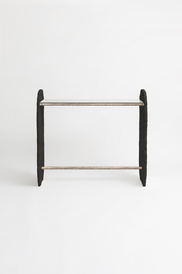 Modern Black Stone and Brass Stoique Stole Console Signed by Frédéric Saulou For Sale